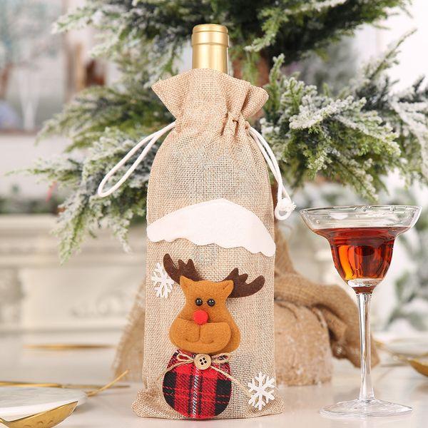 Bolsa Botella de vino de lino beige Elk