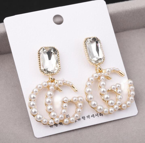 top popular Fashion Hot G Letter Luxury Designer Earrings S925 Silver Needle Clover Stud Earrings Jewelry with Pearl Colorful Crystal Party 2021