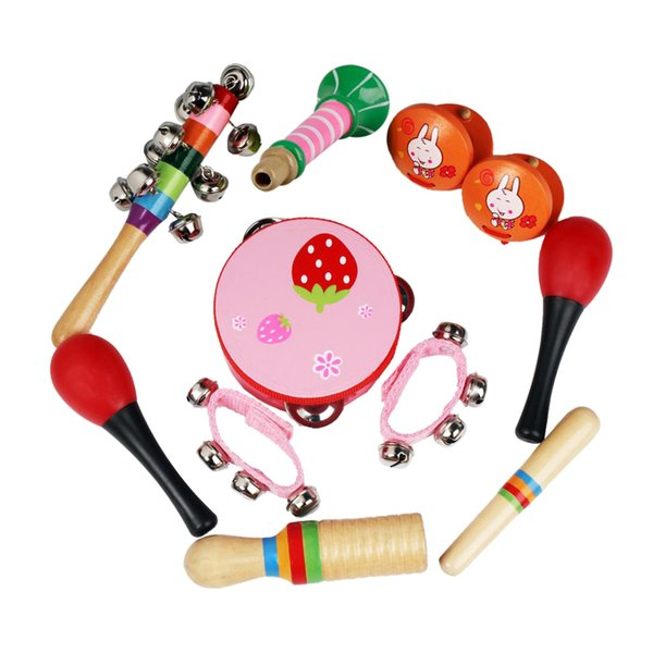 top popular Musical Instrument Set 7 Kinds Tambourine Drum Percussion Toys for Toddlers Kids Pink 2021