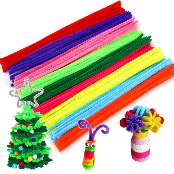 top popular 30cm Kids Plush Educational Colorful Pipe Cleaner Toys Glitter Chenille Stems Pipe Cleaner Handmade DIY Craft Supplies 2021