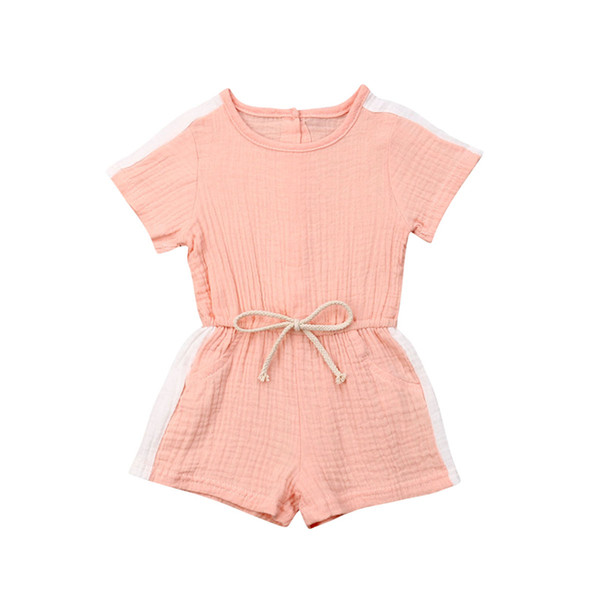 best selling Summer Toddler Kids Baby Girl Casual Candy Color Drawstring Sport Romper Jumpsuit Playsuit Short Pants Clothes 1-4years old