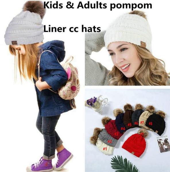 top popular Kids Adults CC Beanie 9 Colors Knitted Pom Pom Hats Winter Woolen Cap Pompom Beanies Fashion Boys Girls Crochet Caps Big Kids Hats 30pcs 2020