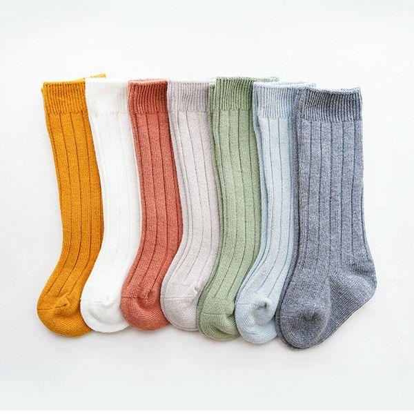 best selling Kids Toddler Infant Baby Girls Boys Solid Anti-Slip Knitted Long Stockings Cotton Knee Stockings