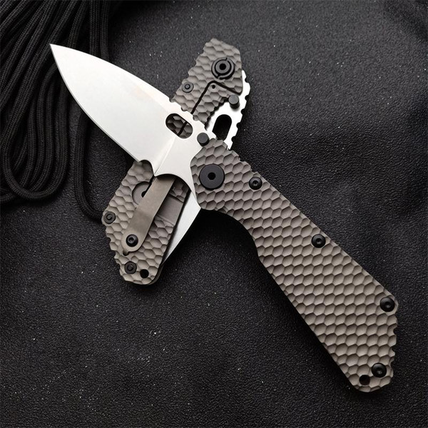 top popular High Quality Folding Knives Strider SMF Ball Bearing Pocket Knife Titanium Handle D2 blade Utility Camping Knife Tactical Surrival knives 2021