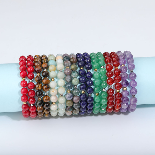 best selling New Adjustable Natural Stone Bead Bracelet Yoga Healing Crystal Stretch Beaded Bracelet for Women Men Handmade Jewelry