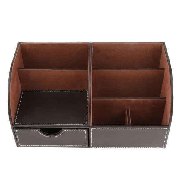 top popular Pu Leather Multifunction Stationery Organizer Storage Box Desk Organizer 2021