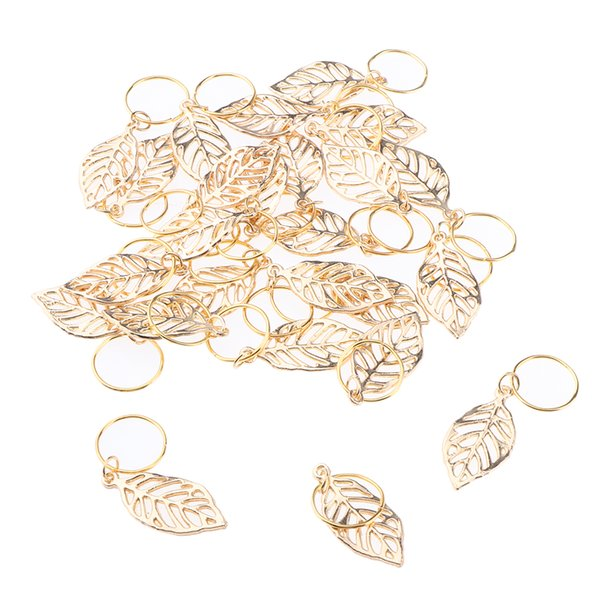 best selling 30pc Golden Leaves Pendant Metal Circlets For Dreadlock Braids DIY Hairstyle