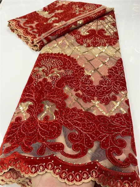 top popular Nigerian Velvet Lace Fabrics African Lace Fabric 2020 High Quality Material With Stones French Fabric Sewing YA3498B-4 2021