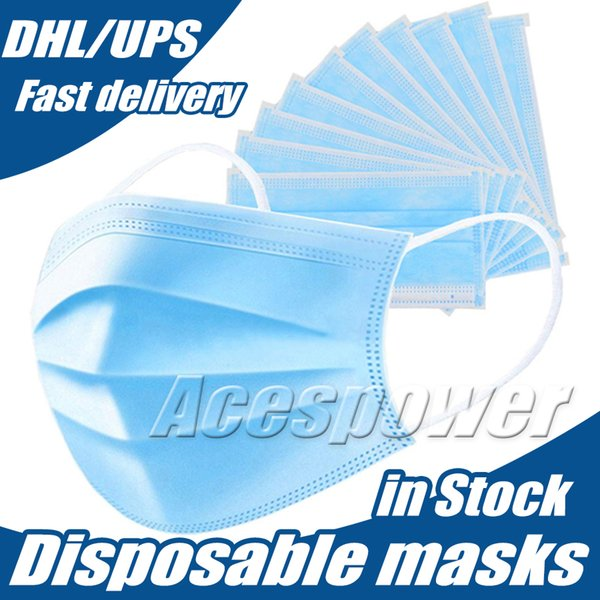 top popular Disposable Face Masks Daily Three Layer Protective Mask Anti Fog Dust-proof Personal Protective mask In Stock ship via DHL 2021