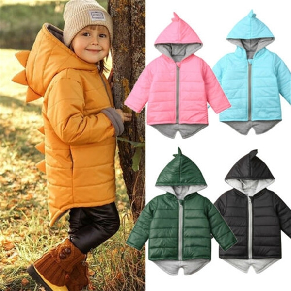 top popular Cute Kids Toddler Baby Girl Boy Long Sleeve Solid Color Hoodied Zipper Coat Winter Warm Jacket 3D Dinosaur Outwear Casual Tops Y200831 2021