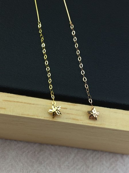 18k Gold Five-pointed Star Threader Earr