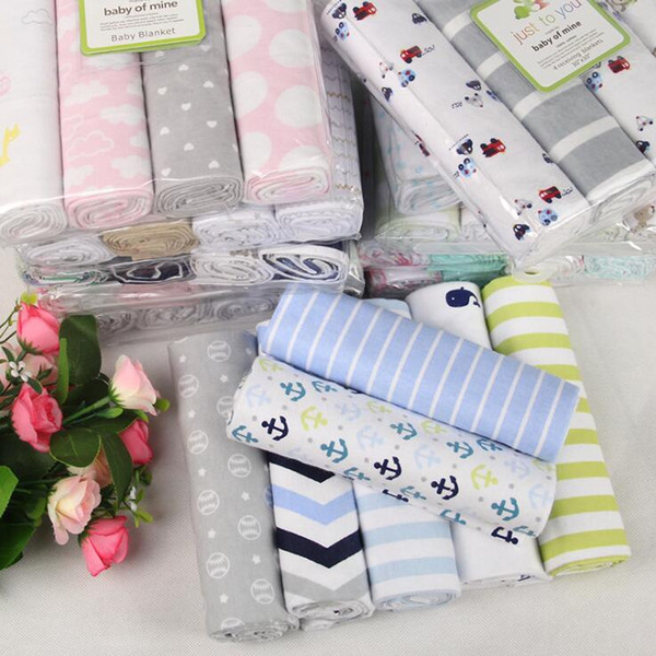 best selling Newborn Blanket Baby Swaddle Bath Towels Flannel Cotton Towels Air Condition Towel Cartoon Printed Swaddling Stroller Cover 1Set 4pcs YL546