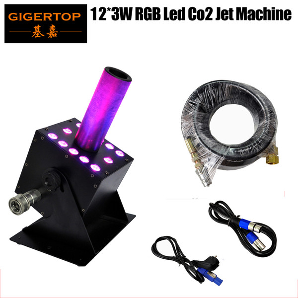 best selling NEW Arrival LED CO2 Jet Machine 12 x 3W RGB Color mixing Multi angle Stage Led CO2 Machine 110V 240V DMX Control adjust gas jet TP-T21