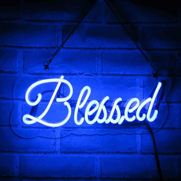best selling Neon Signs Blessed Neon Light Handmade Glass 3D Visual Effect Decorative Sign 15 x 4 Inch Plug-in Novelty Night Light for Home Bedroom