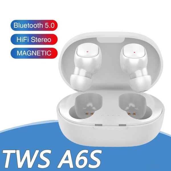 top popular Bluetooth Earphone TWS A6S Headphones Bluetooth 5.0 Wireless Earbuds Life Waterproof Bluetooth Headset with Mic for all Goophone 2021