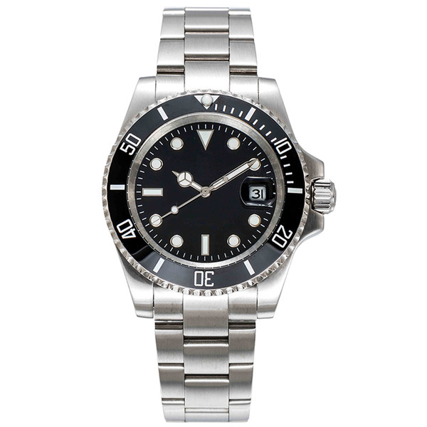 best selling montre de luxe mens black automatic mechanical Ceramic Bezel full Stainless Steel Original Gliding clasp Sapphire 5ATM waterproof watches
