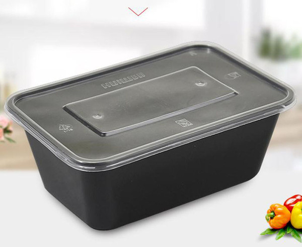 best selling 500 650 750ml 1000ML Black Disposable dinner Box Take Out Case Rectangle Shape Foods Container for Cake Food Holder 300pcs lot