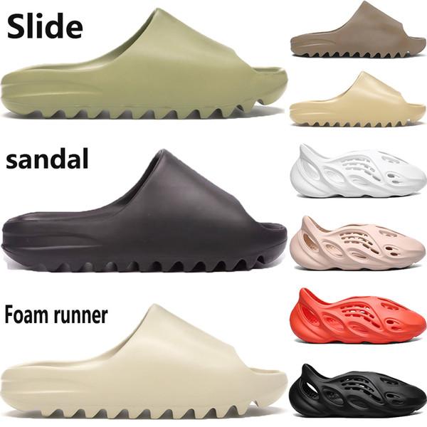 best selling With box kanye west slipper foam runner sandal shoes resin bone triple black white desert sand pantoufle mens women fashion slides