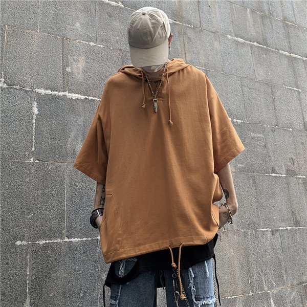Воротник P-w02 с капюшоном с коротким рукавом-оранжевый