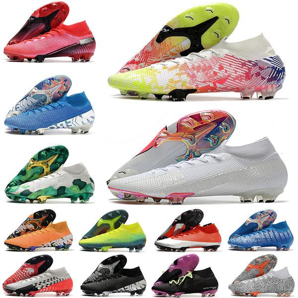 top popular 2020 Mens chuteiras Mercurial Superfly VII 7 Elite knit 360 FG CR7 Football Boots women kids boy high ankle soccer cleats Shoes EUR35-45 2020