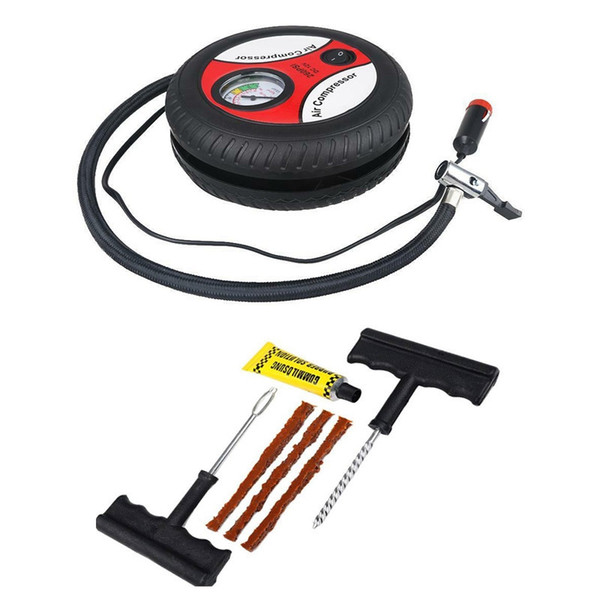 best selling 12V Portable Air Compressor Wheel 260Psi Tyre Inflator Pump Car Auxiliary Tools Tire Inflation Pump With Tire Repair Tool