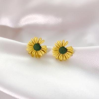 Daisy amarillo (925 aguja de plata)