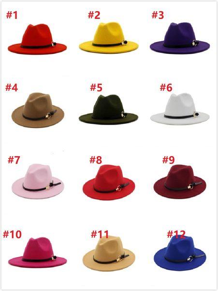 best selling 2020 women's Fedora Hat For Gentleman Woolen Wide Brim Jazz Church Cap Band Wide Flat Brim Jazz Hats Stylish Trilby Panama Caps