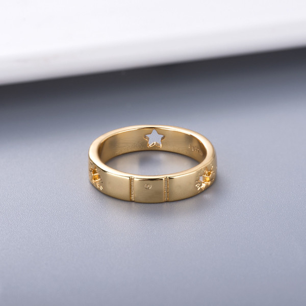 top popular Simple Style Couple Ring Personality for Lover Ring Star Fashion Ring High Quality Silver Plated Jewelry Supply 2021