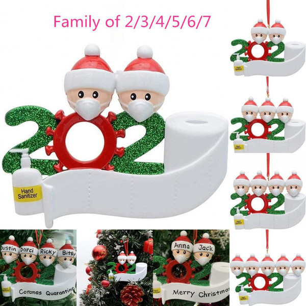 best selling DHL 2020 Quarantine Christmas Birthdays Party Decoration Gift Product Personalized Family Of 2 3 4 5 6 7 Ornament Pandemic Social Distancing