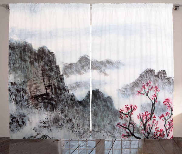 best selling Asian Curtains Traditional Chinese Painting Landscape Sakura Cherry Tree Cloudy Mountains Living Room Bedroom Window Drapes
