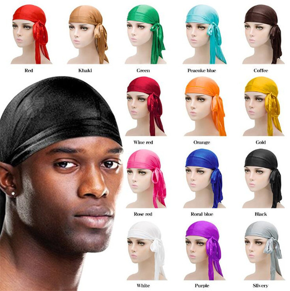 best selling Fashion Men Women Silky Pirate Hat Satin Durag Bandana Turban Wigs Solid Color Headwear Headband Pigtail Hip Hop Cap Beanie