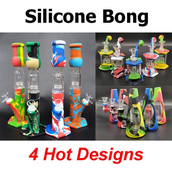 top popular Silicone Bongs Percolators Perc Removable Straight Water Pipes honey comb bong Smoking Bong With Glass Bowl Mini Bongs With Quartz Banger 2021