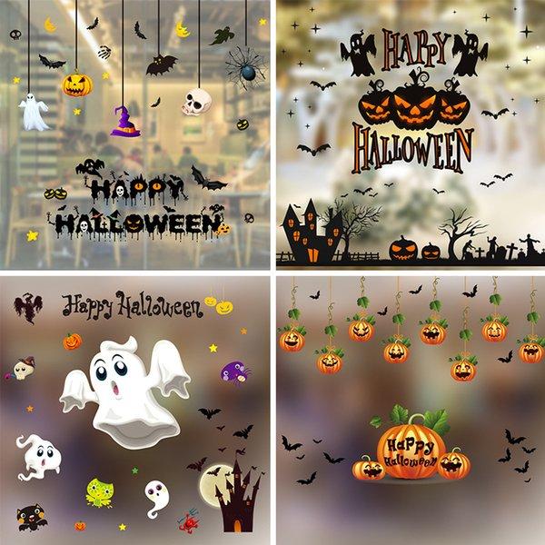 top popular 2020 Halloween decoration window decoration window stickers Halloween color electrostatic stickers 2021