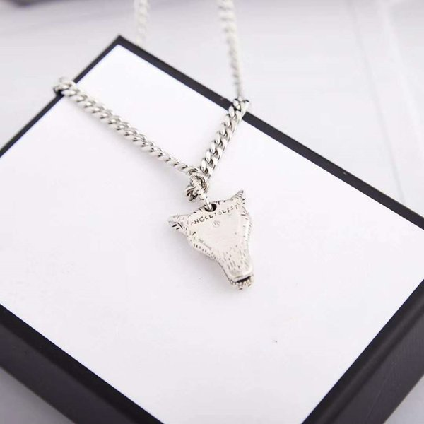best selling High Quality Manufacturers New Style Wolf Head Necklace for Unisex Top Quality Silver Plated Chain Necklace Personality Charm Necklace Fashi