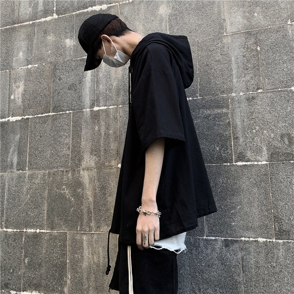 Воротник P-w02 с капюшоном с коротким рукавом-черный