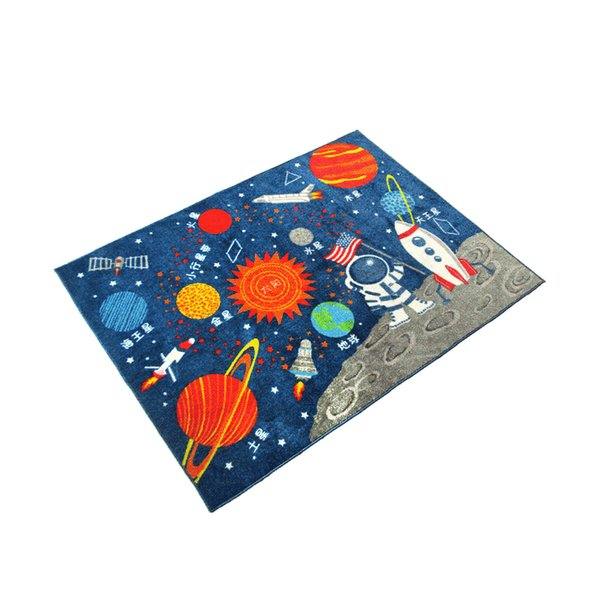 top popular Kids Rugs Non Skid Washable Children Educational Learning Carpet for Playroom Bedroom Solar System Large Area Rug Blue (Stars) 2021