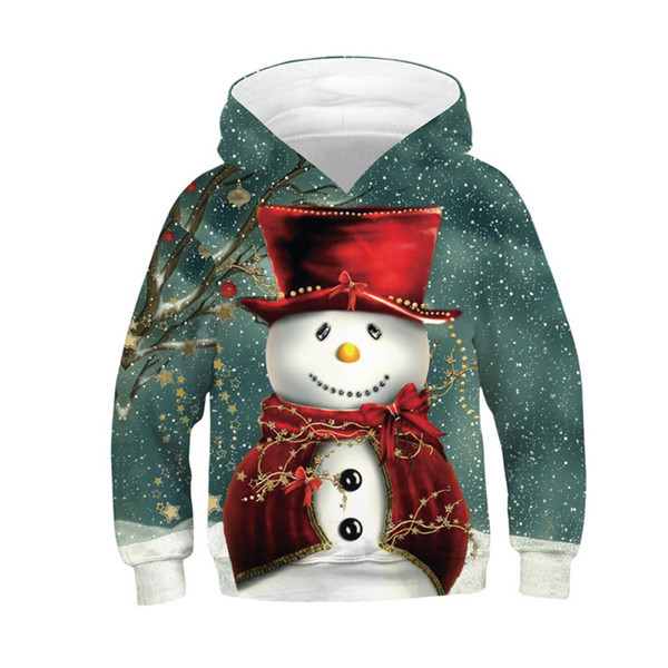 top popular Christmas Baby Kids Clothes Newest Santa Claus Tops Digital Printed Children's Hoodie Loose Oversized Kids Sweathers For Autumn And Winter 2021