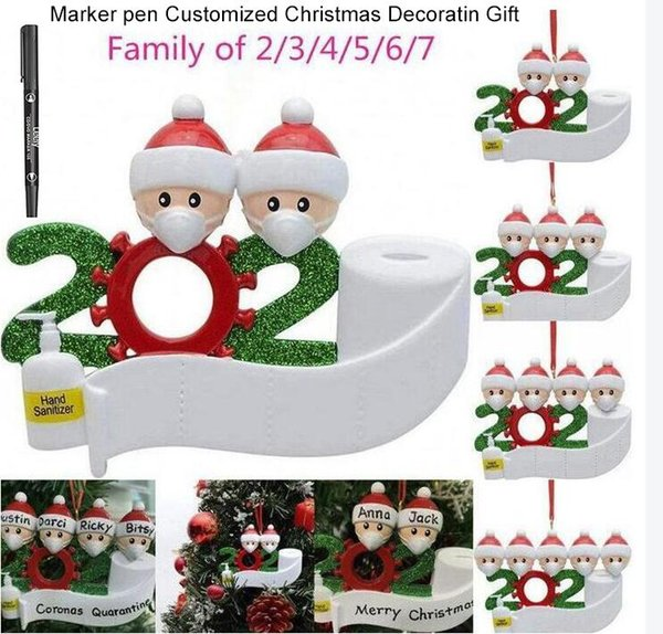 best selling DHL SHIP !Resin and PVC Customized Quarantine Christmas Party Decoration Gift with marker Pen Personalized Family Of 7 Ornament fy4265