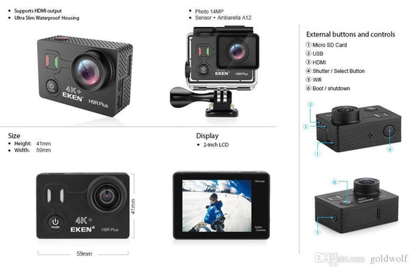 top popular Original 170 Camera Wifi Hdmi 2 Sports Free Action Screen Hdmi Hd Plus 4k H9r Shipping Wide Waterproof Eken Ultra Control Remote Inch yxlbi 2020