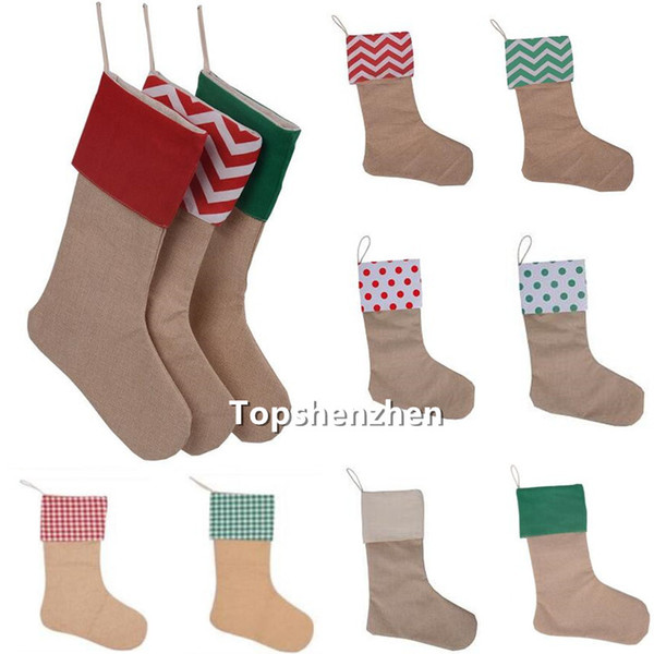 top popular 12*18inch 9Colors High Quality Burlap Christmas Stocking Gift Bags Xmas Fireplace Hanging Sock Large Plain Decorative For Christmass Decorations DIy Craft 2021