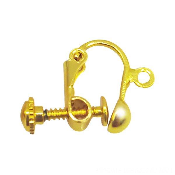 Husillo de bolas clip del oído de oro de 18 quilates