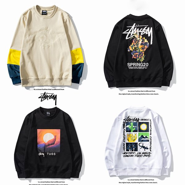 top popular HOT Brand stussy Sweaters Fashion Men Women Sweater High Quality Sweater Pullover Long Sleeve autumn Letter Printed Couple Size M-XXL 2020