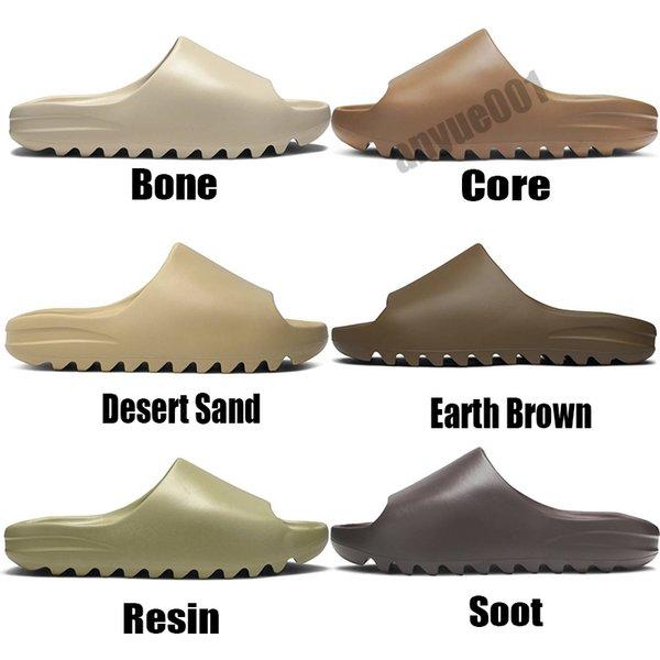 best selling Fashion Kanye West Slides Foam Runner Desert Core Sand Earth Brown Resin Mens Womens Slipper pantoufle Luxe male female Sandal Slippers