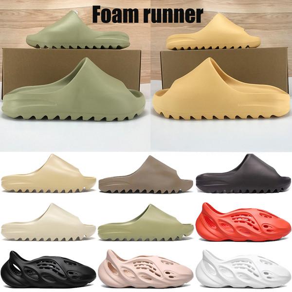 top popular New kanye west foam runner sandal slipper triple black white bone resin desert sand soot men women fashion slides sandals shoes US 5-11 2020