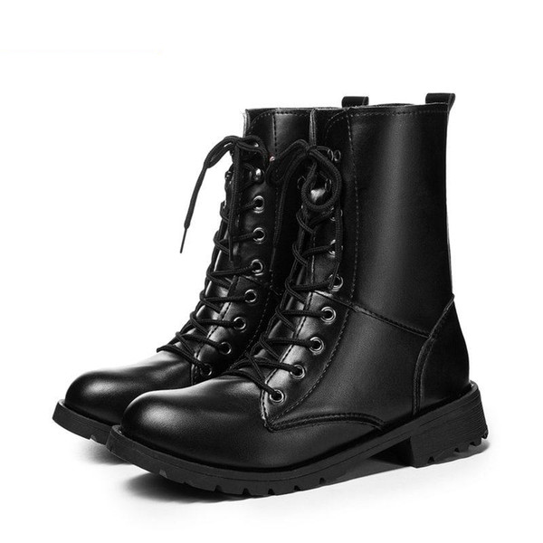 New Buckle Winter Motorcycle Boots Women British Style Ankle Boots Gothic Punk Low Heel ankle Boot Women Shoe Plus Size 42