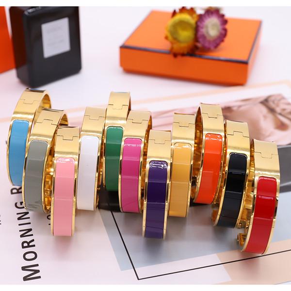 top popular Enamel Rainbow Woman Bracelet Fashion Bracelets for Man Women Jewelry Bracelet Jewelry 11 Color Optional with BOX 2021