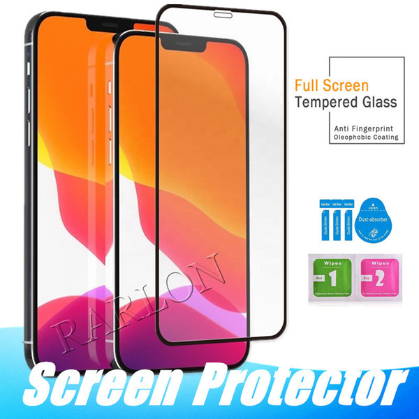 best selling New Full Glue Screen Protector Tempered Glass Full Coverage 9H Hardness for iPhone 12 11 Pro Max XR 8Plus Samsung S10 E A21S A51 Huawei P40