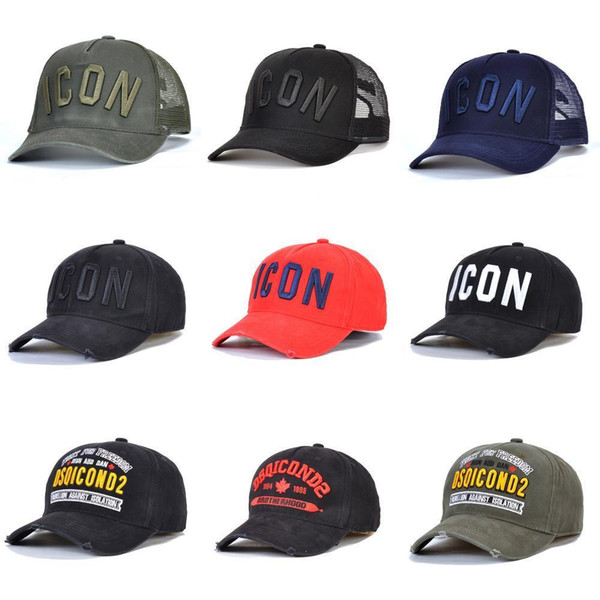 top popular Hot Sale ICON Mens Designer hats Casquette d2 luxury embroidery adjustable Icon hat 2020 new 7 color behind letter cdAC# 2021