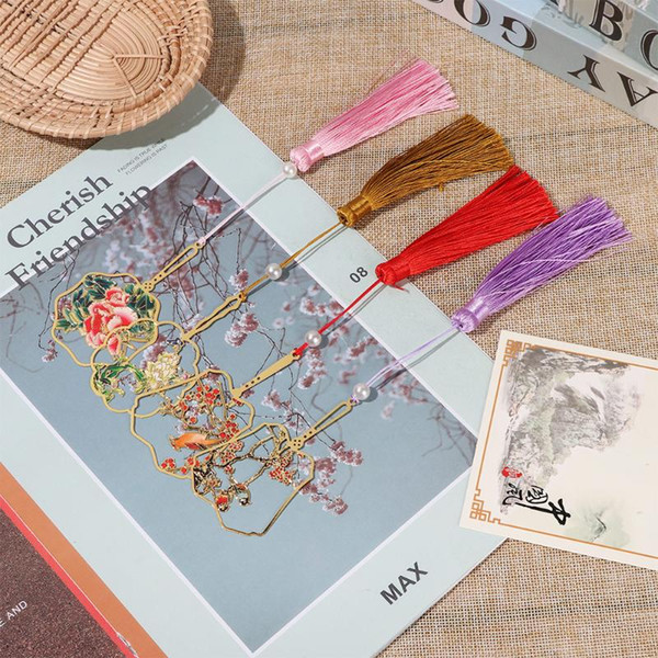 best selling Bookmark Book Clip Brass Tassel Pagination Mark Metal Book Markers Color Chinese Style Retro Stationery Stationery New Fashion