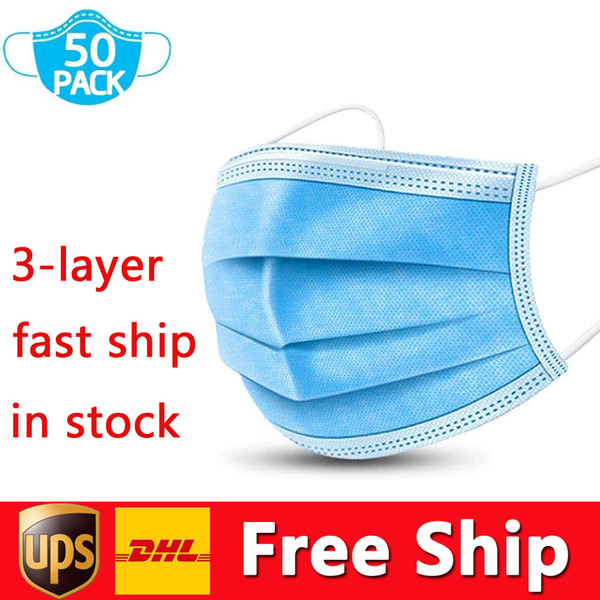 best selling DHL UPS Free Shipping Disposable Masks 3ply Non-woven Face Mask Protection and Personal Health Mask with Earloop Mouth Face Sanitary Masks